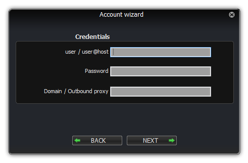 Zoiper linux account wizard credentials dialog
