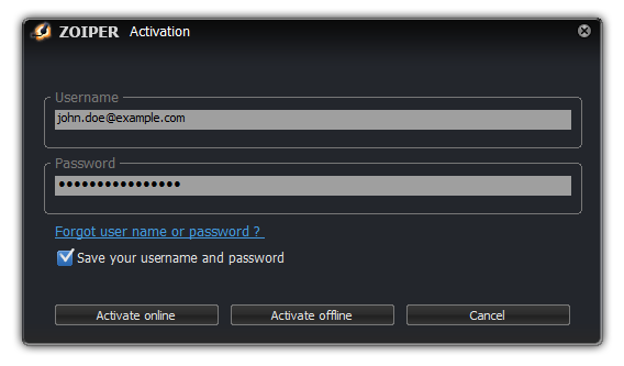 linux activation dialog
