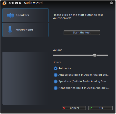 Zoiper linux audio wizard start test dialog