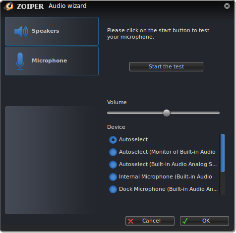 Zoiper linux audio wizard test microphone dialog