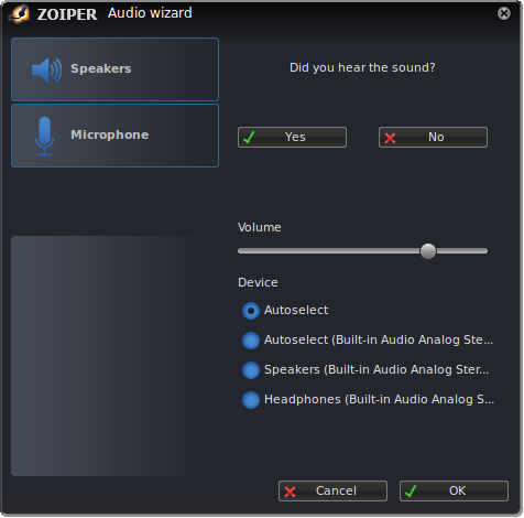 Zoiper linux audio wizard test speakers dialog