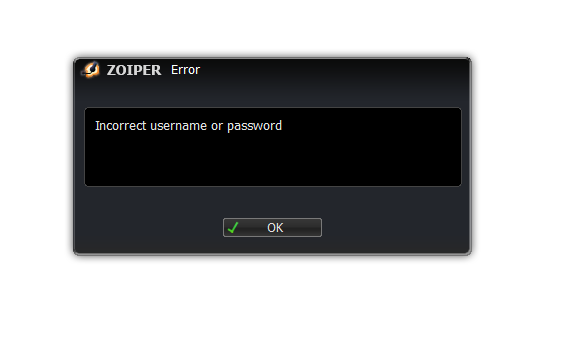 linux error incorrect username or password dialog