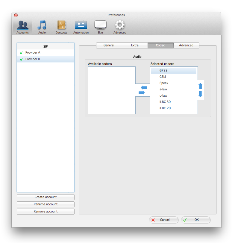Zoiper mac accounts tab codec