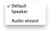 Zoiper mac audio icon context menu
