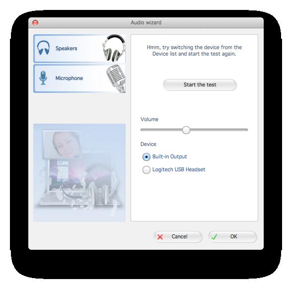 Zoiper mac audio wizard start test dialog