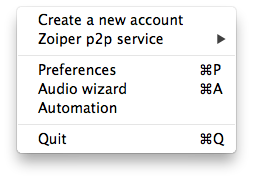 Zoiper mac settings menu