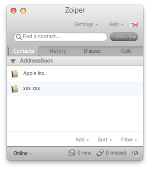 Zoiper mac main window contacts tab