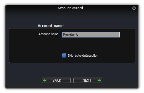 Cuadro de diálogo de nombre de cuenta de asistente de cuentas de Windows de Zoiper