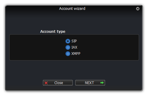 Cuadro de diálogo del asistente para cuentas de Windows Zoiper