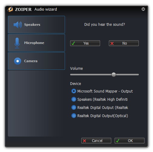 Zoiper windows audio wizard test speakers dialog