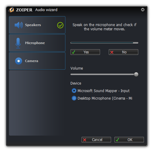 Zoiper windows audio wizard testing microphone dialog