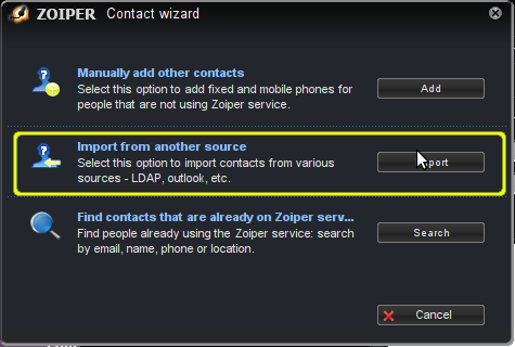 Importing contacts from Outlook :: Zoiper
